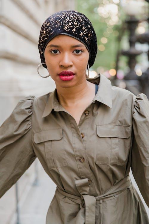Woman Wearing Printed Hijab