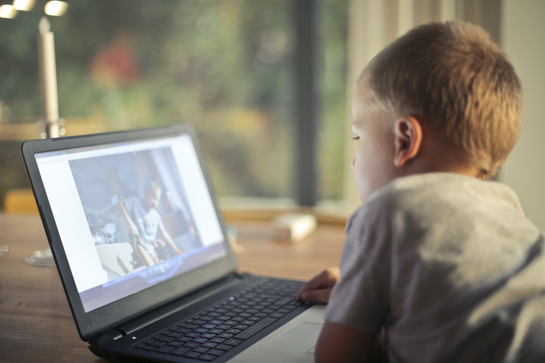 Boy Watching Video Using Laptop