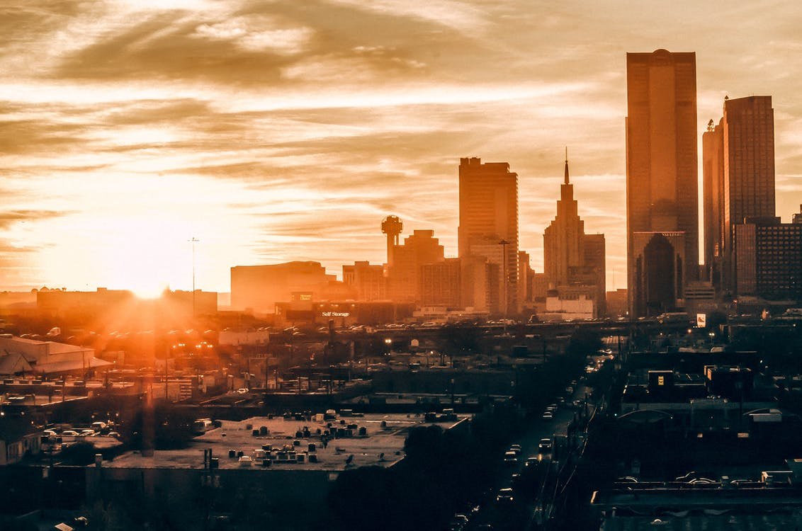 architectuur, binnenstad, dageraad