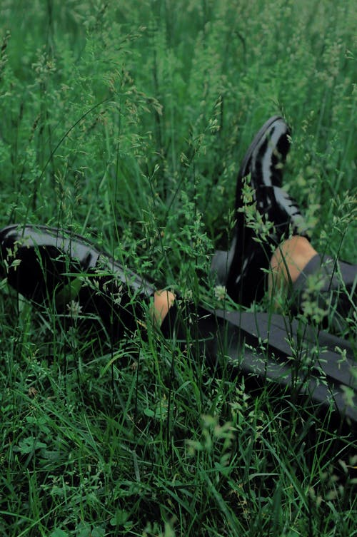 Person Wearing Black Leather Shoes Laying on Grass