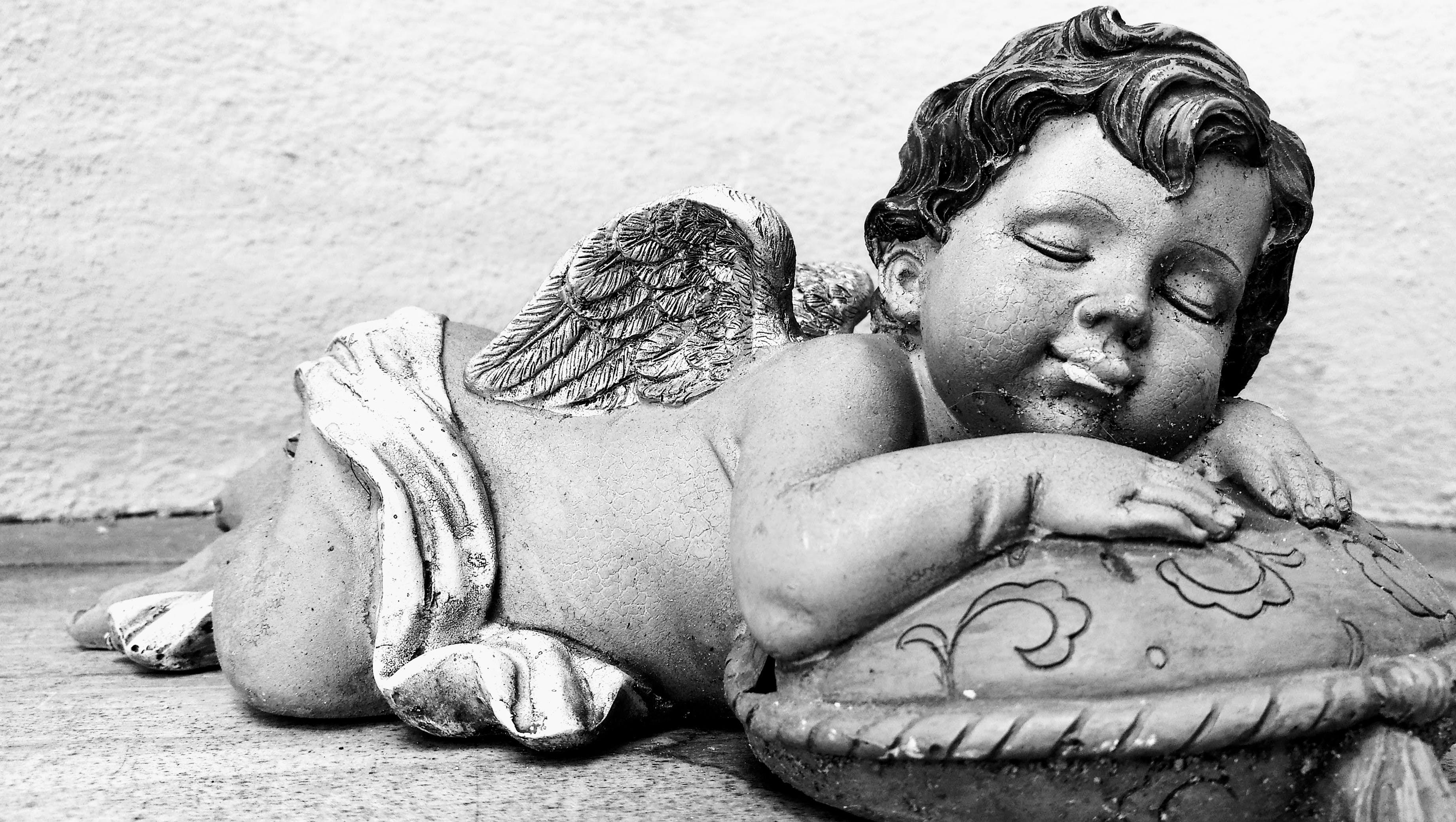 Free stock photo of angel, arts and crafts, asleep, black-and-white