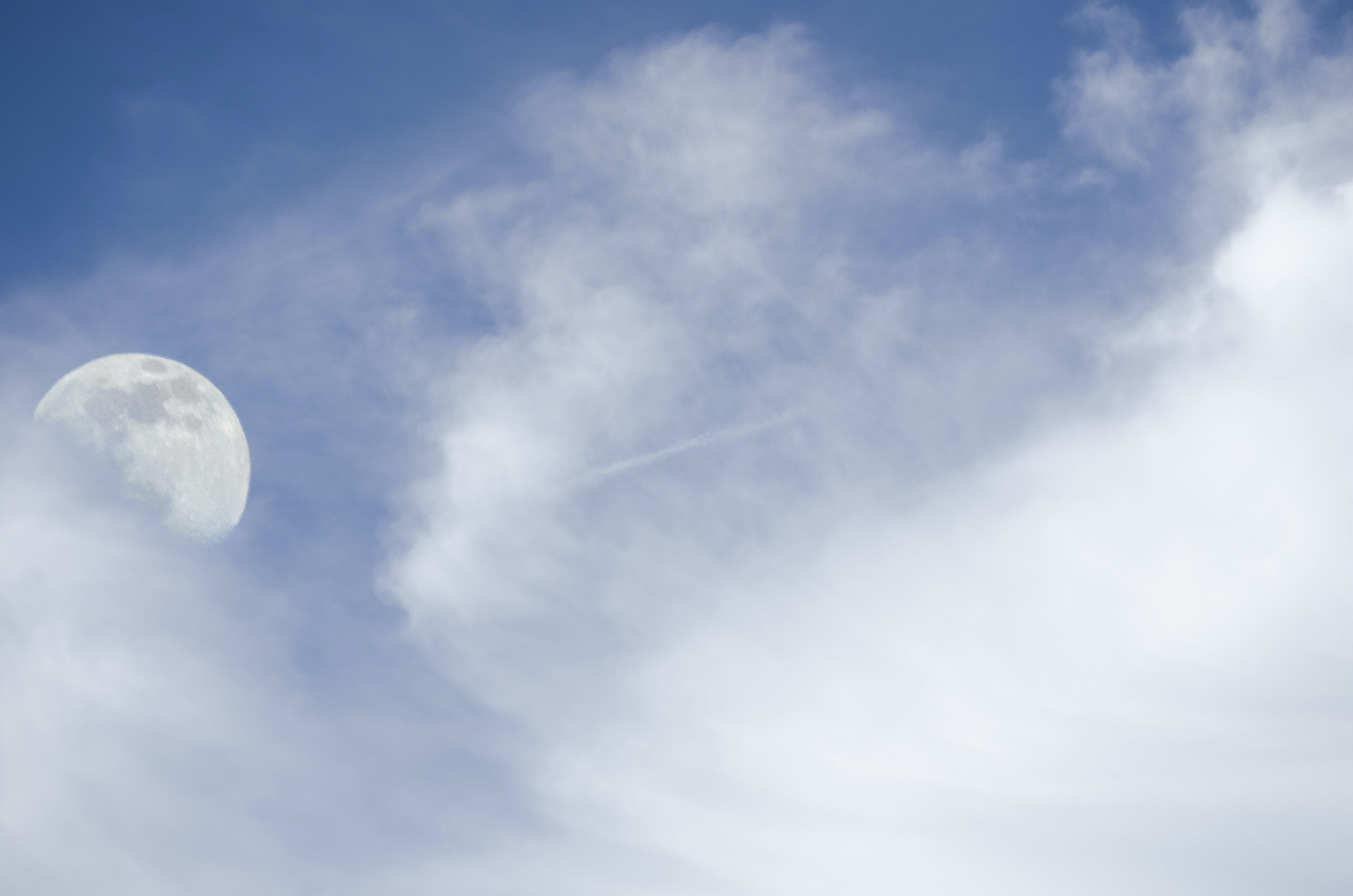 Free stock photo of blue sky, clouds, moon