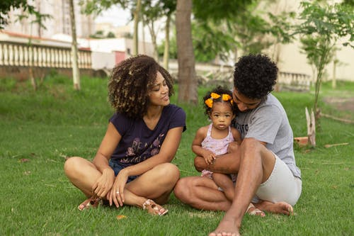 Family Sitting on Grass in the Park
