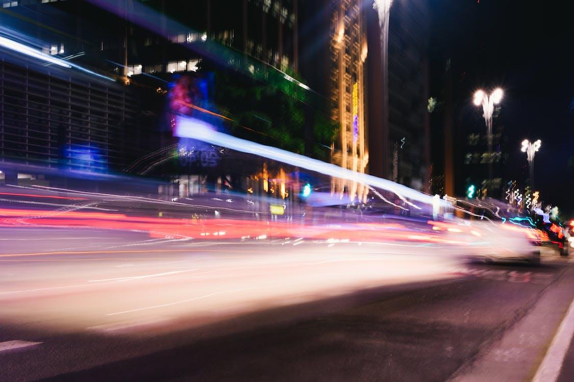 auta, dlouhá expozice, noc