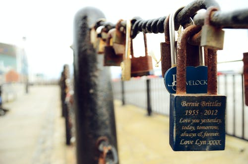 Blue Bernie Brittles 1955-2012 Love You Yesterday, Today, Tomorrow, Always and Forever Love Lyn Xxxx Engraved Padlock
