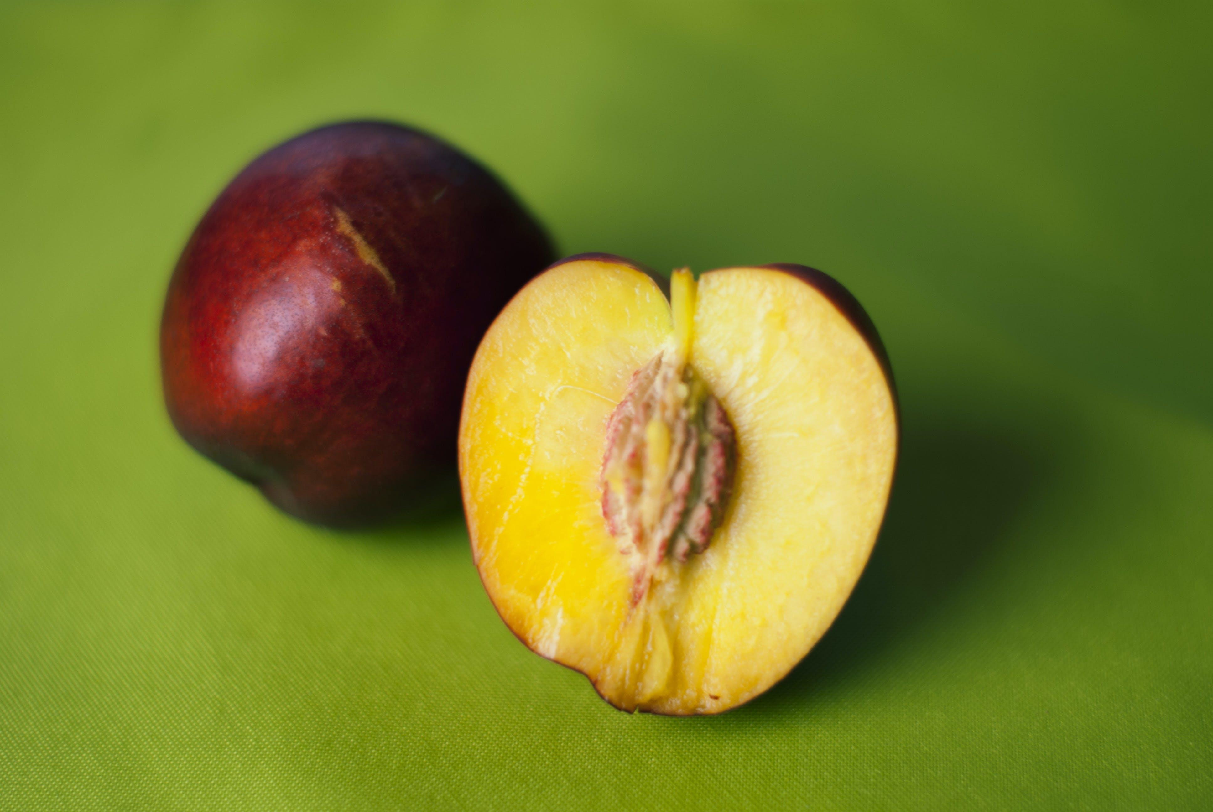 Peach Apple on Green Mat