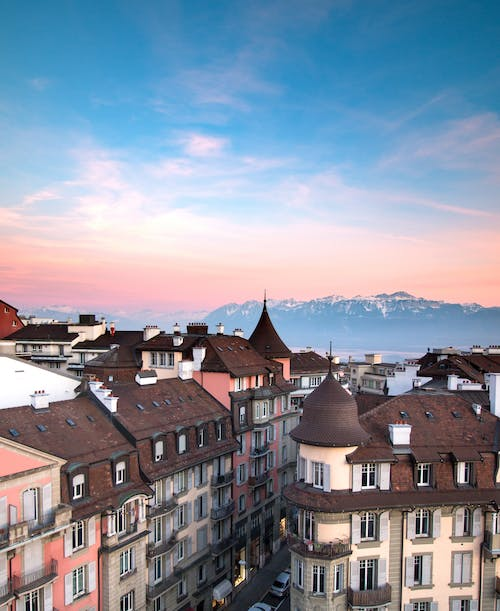 Free stock photo of alps, early sunrise, lausanne