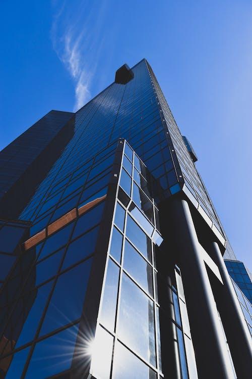 architektura, blask słońca, budynek