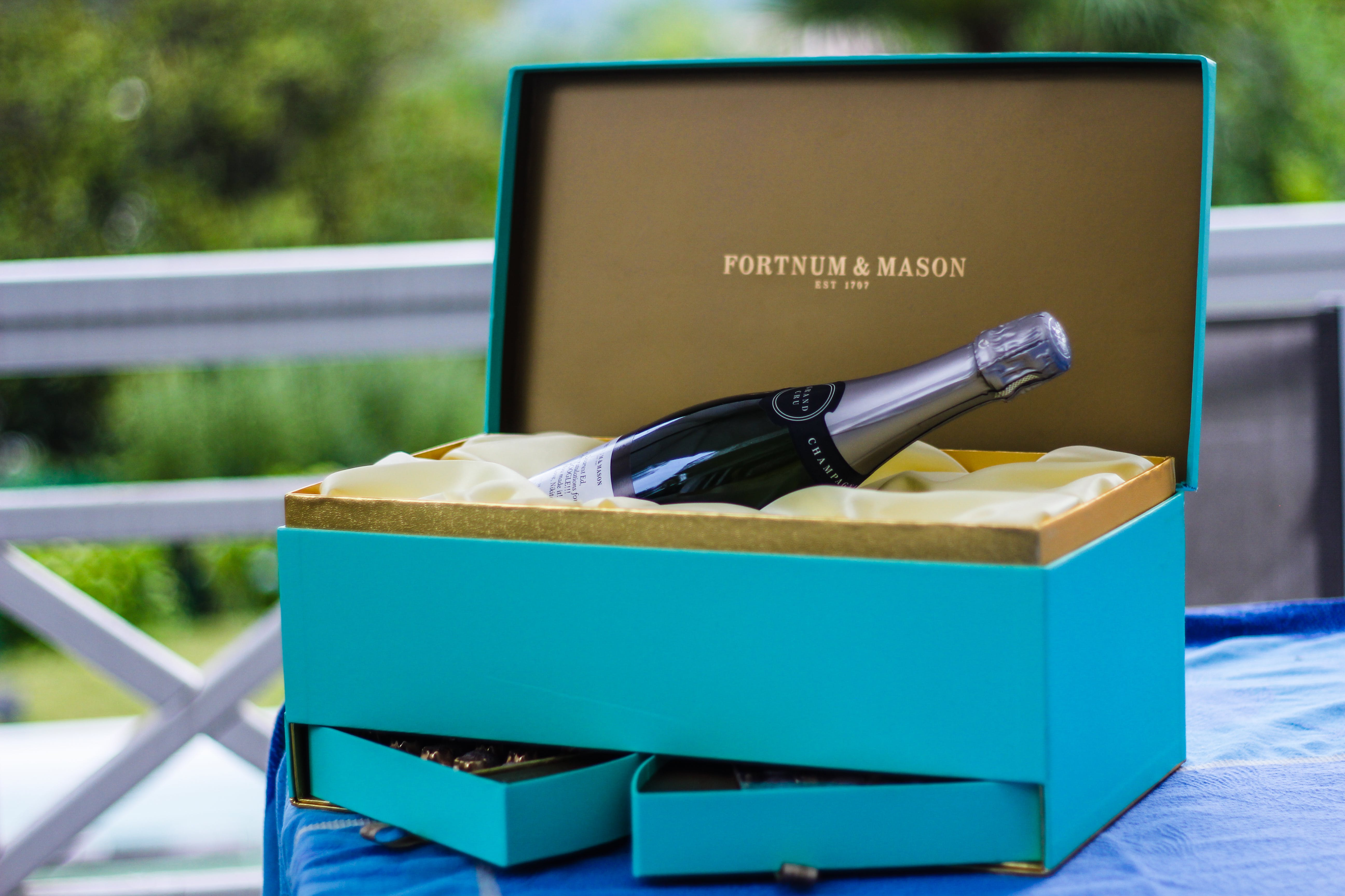 Fortnum And Mason Bottle On Blue Box