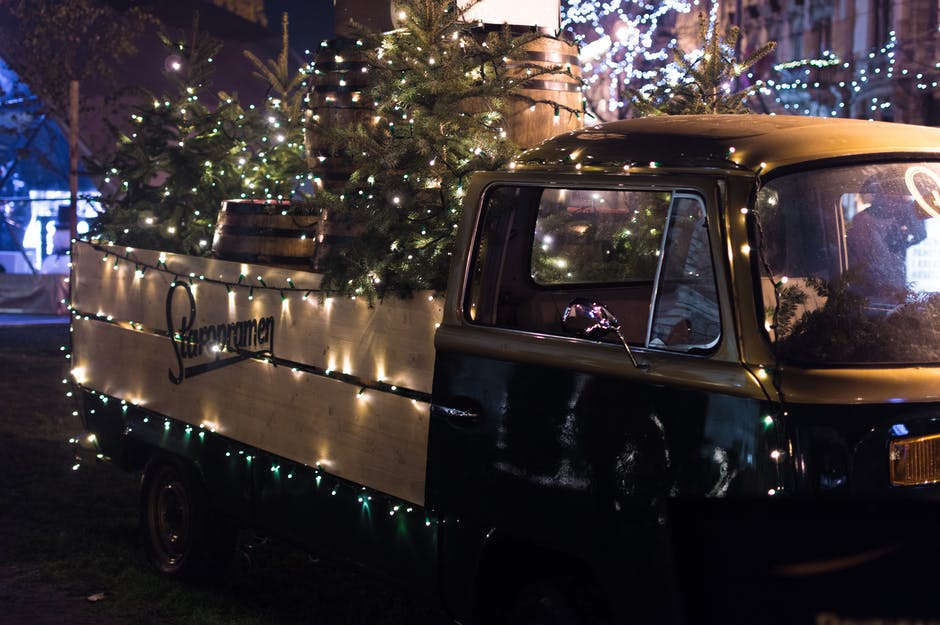 Classic Brown Single-cab Truck With Christmas Tree