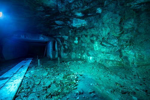 Free stock photo of blue water, carved stones, cave, concrete
