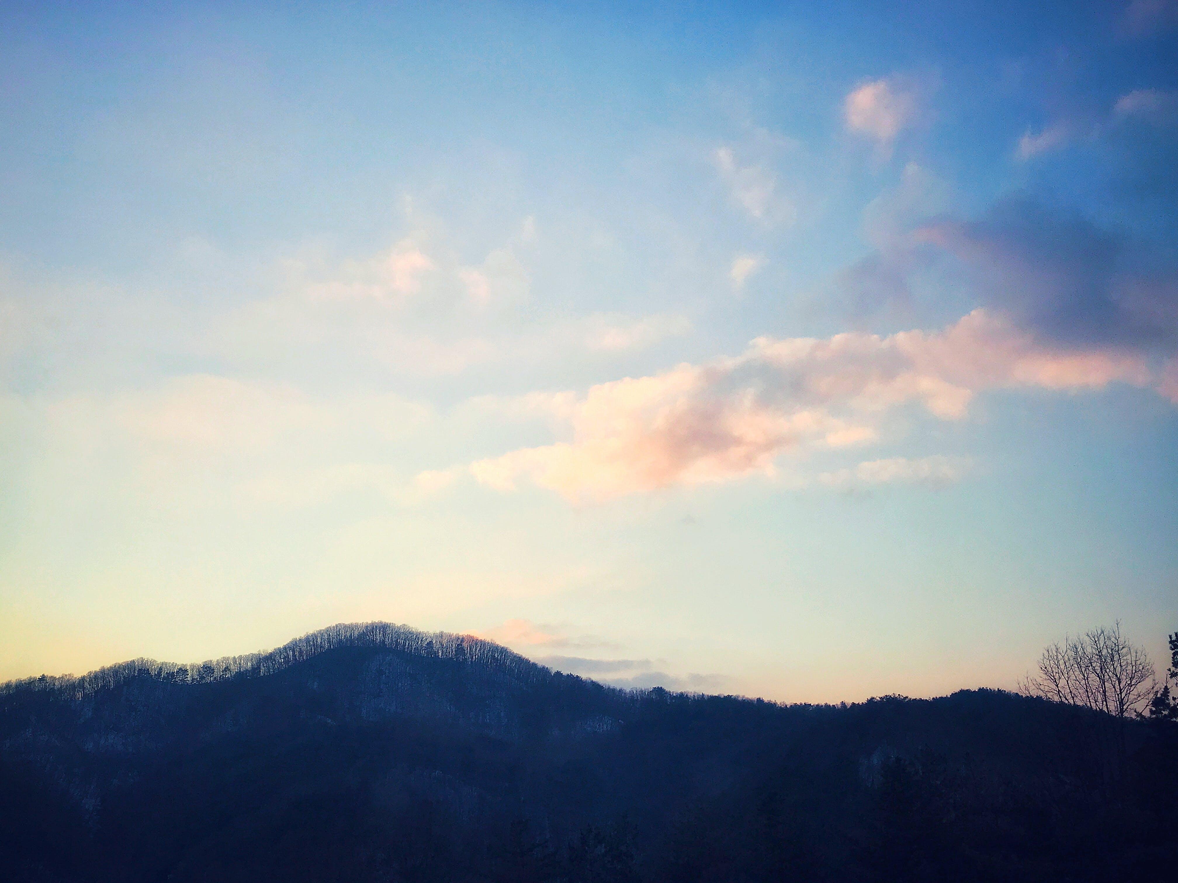 cloudy sky, mountain, sky