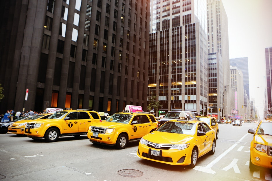 cabs, cars, city