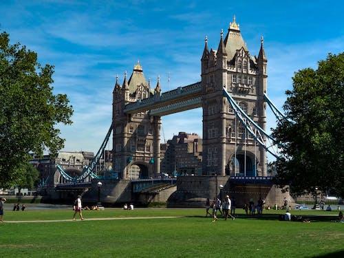 People Walking on the Park Across the Tower Bridge