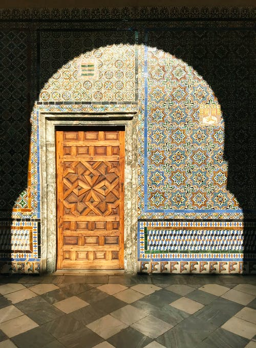 Blue and Brown Floral Door