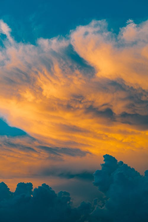 Orange and Blue Cloudy Sky during Sunset