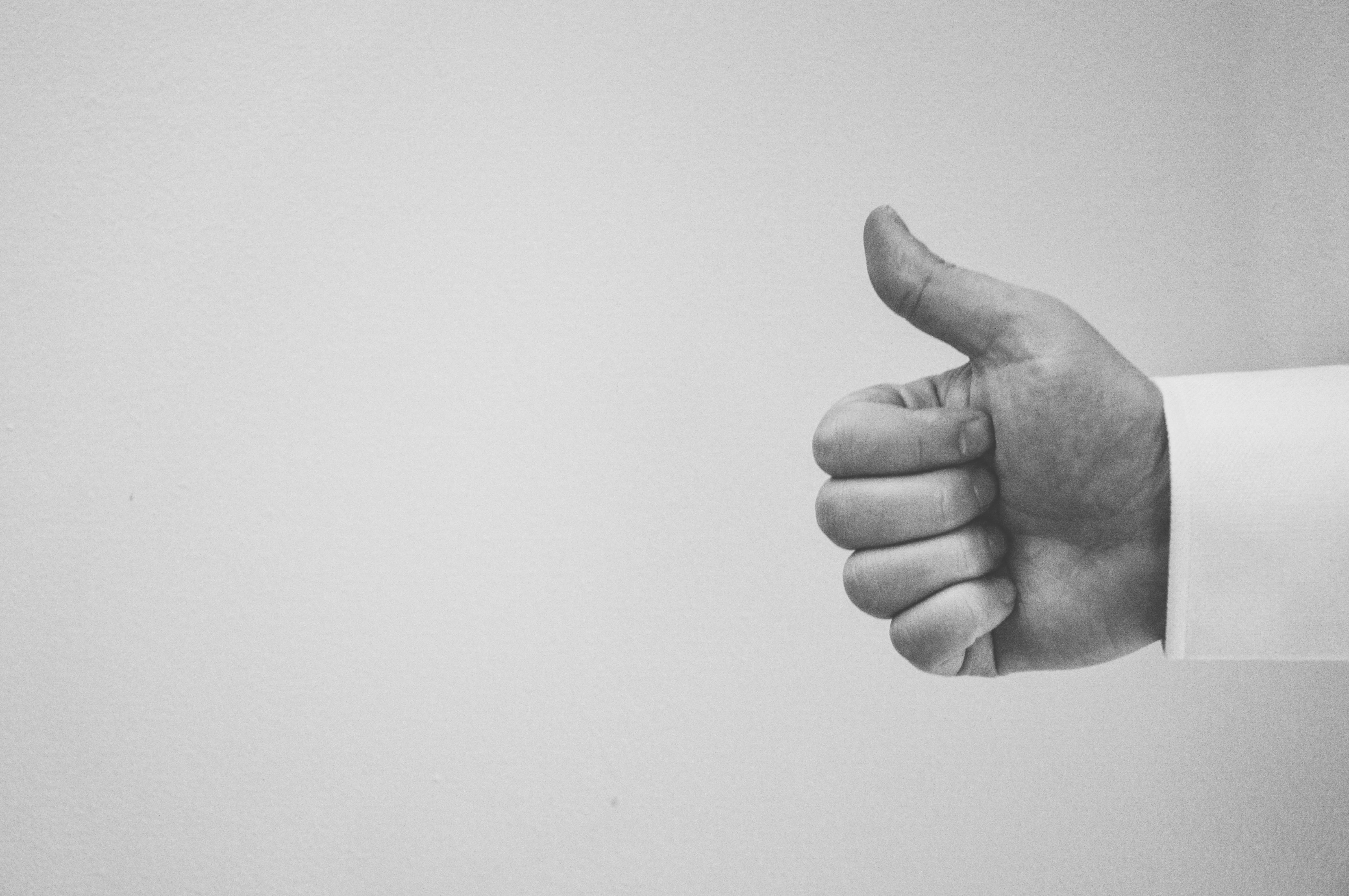 Free stock photo of black-and-white, hand, whitespace, success