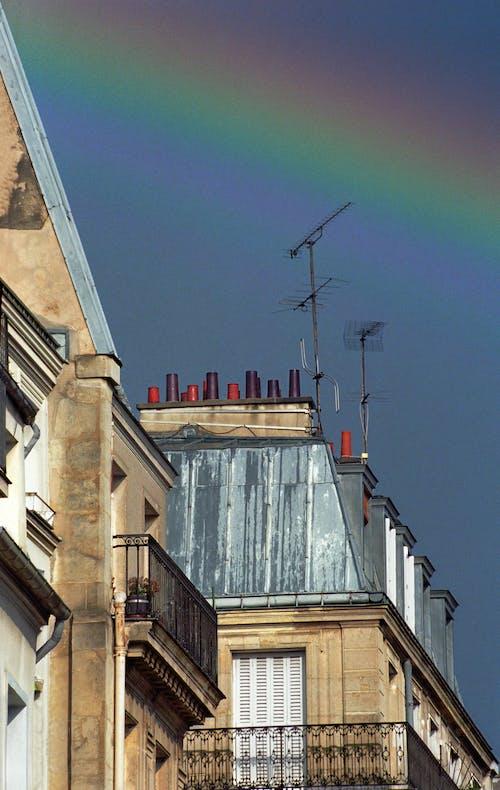 Free stock photo of buildings, rainbow, sky