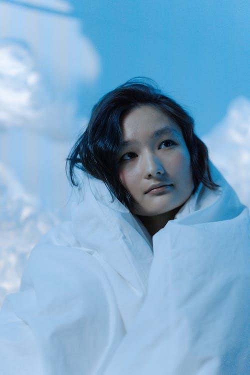 Imagine de stoc gratuită din albastru, femeie asiatică, frumos