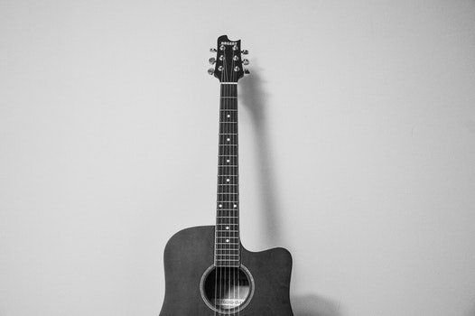 Free stock photo of black-and-white, music, string instrument, guitar