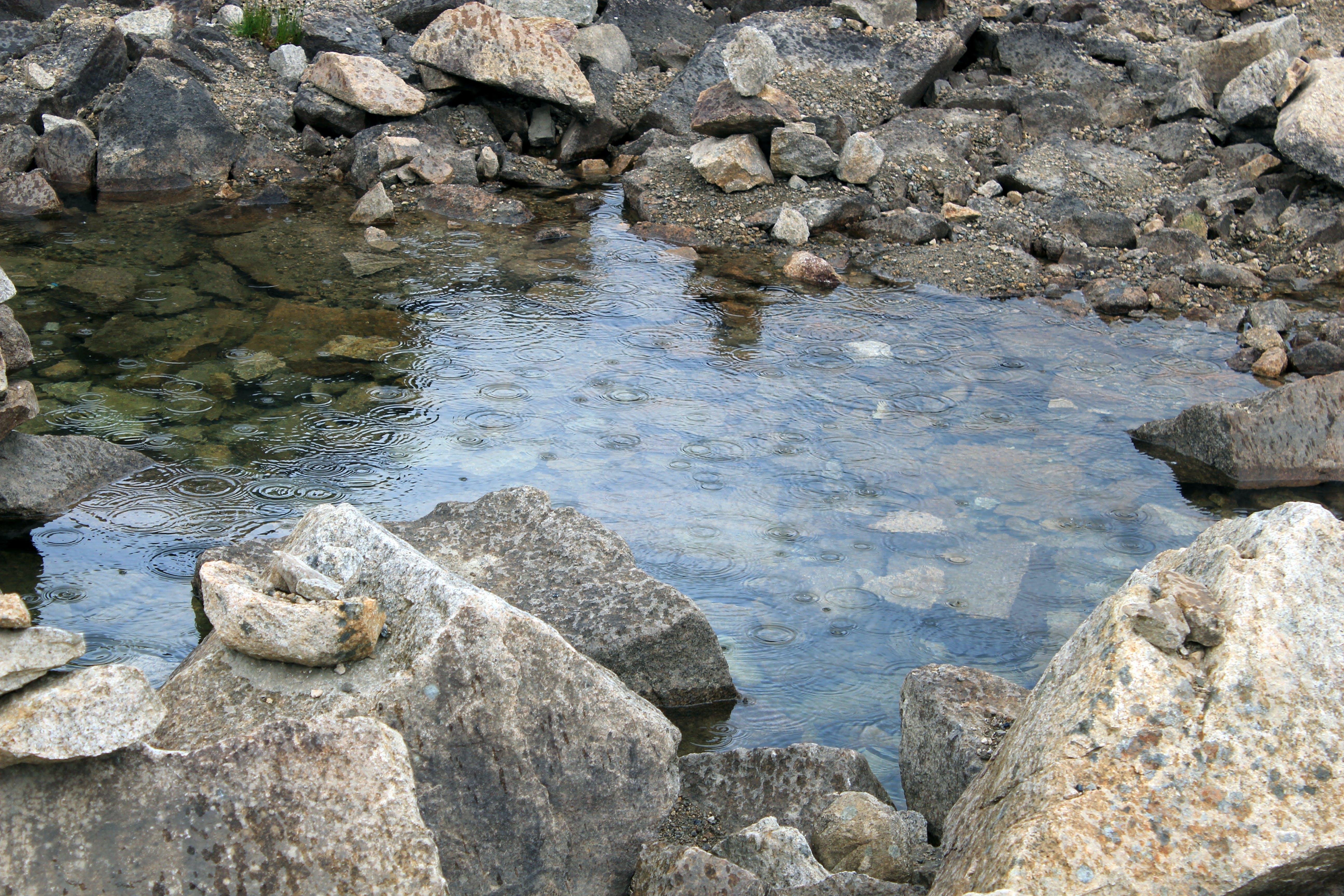 Free stock photo of puddle, rocks