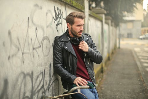 Man Wearing Black Full-zip Biker Jacket