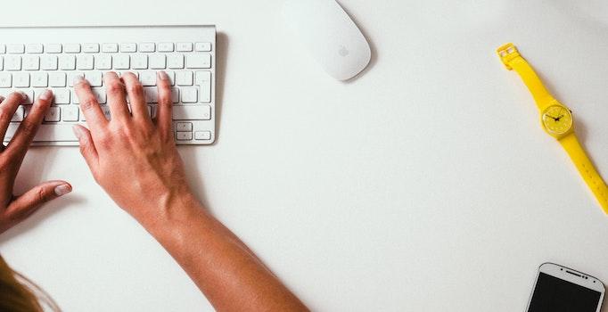 Free stock photo of desk, working, wristwatch, typing