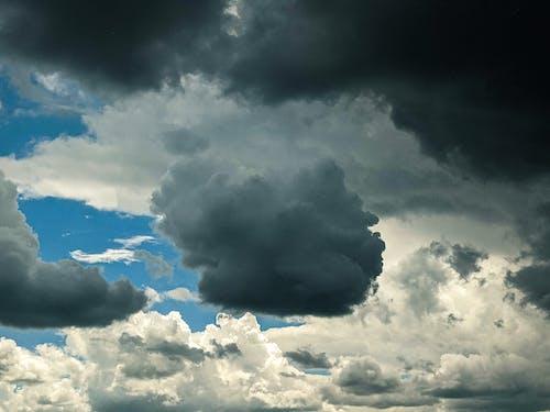 Overcast sky on blue sky
