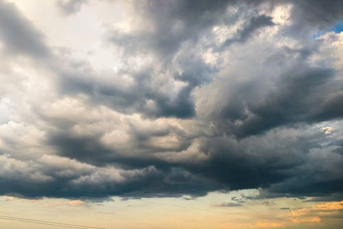 Gray clouds on overcast sky