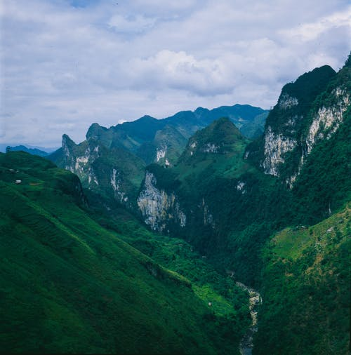 Green Mountains Under White Clouds