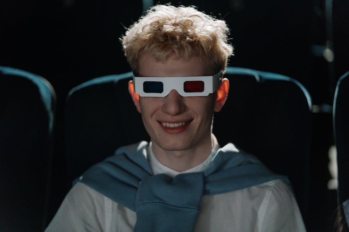 Boy in Blue Collared Shirt Wearing Orange Framed Sunglasses