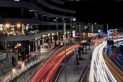 Free stock photo of car lights, city, cityscape, light trail