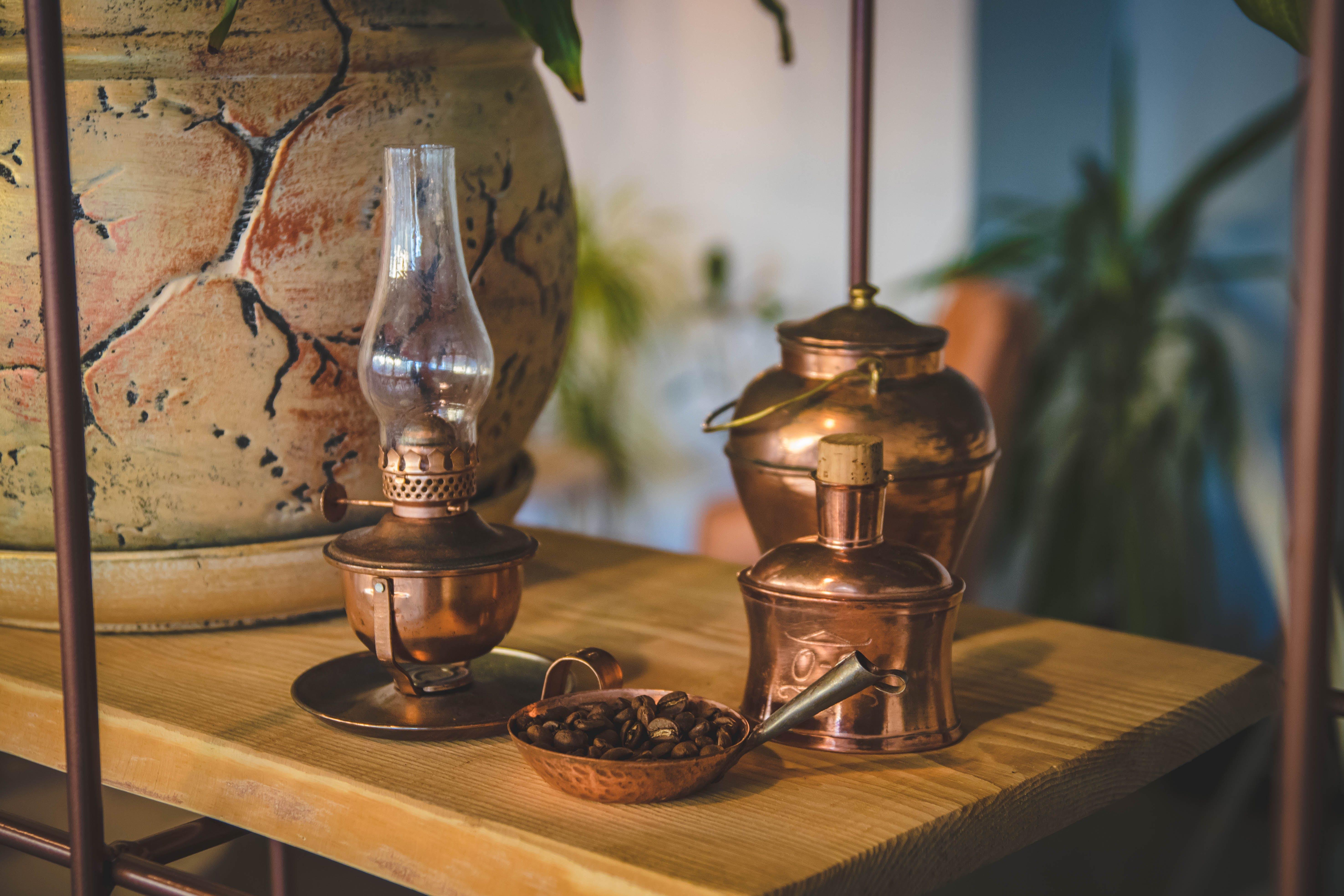 Brass-colored Oil Lamp