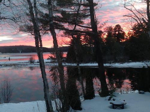 Бесплатное стоковое фото с закат, зима