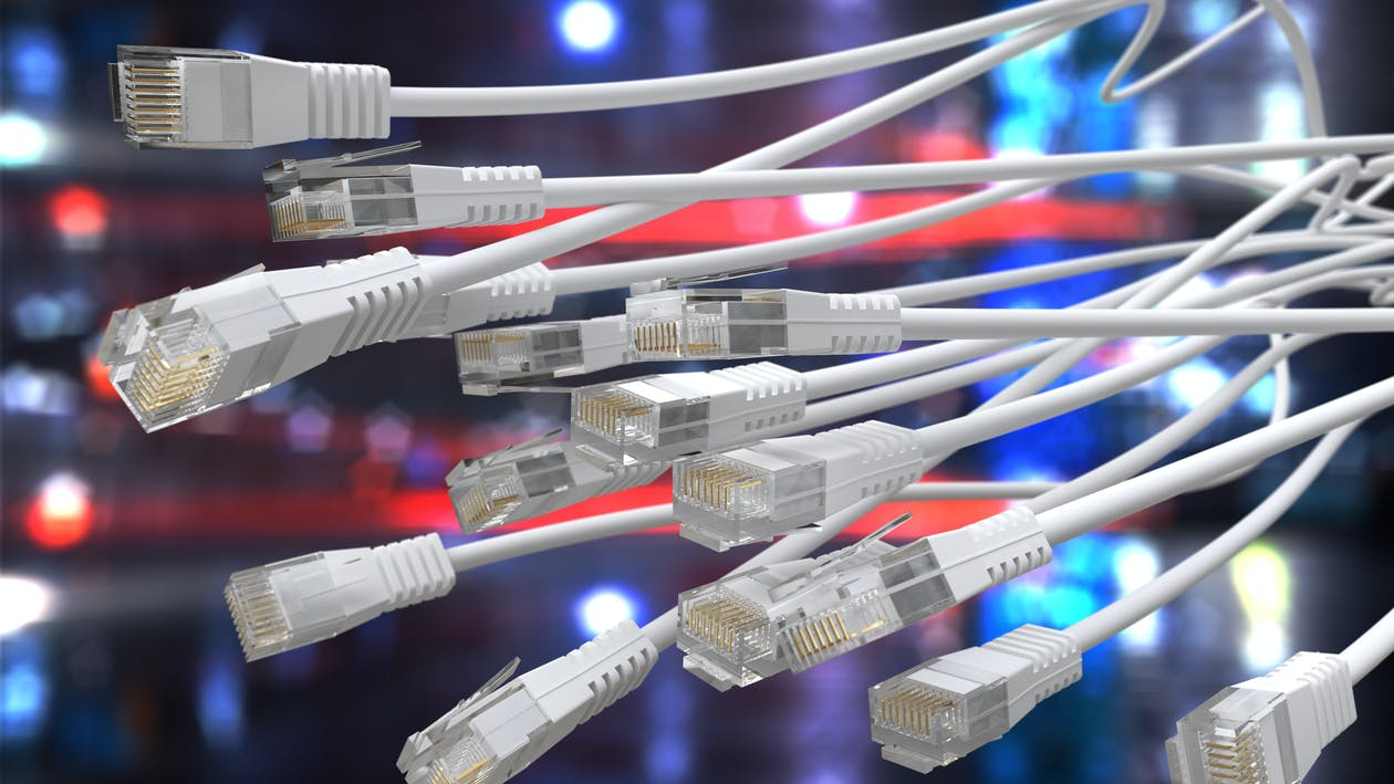 Close Up Photo of White Ethernet Cables