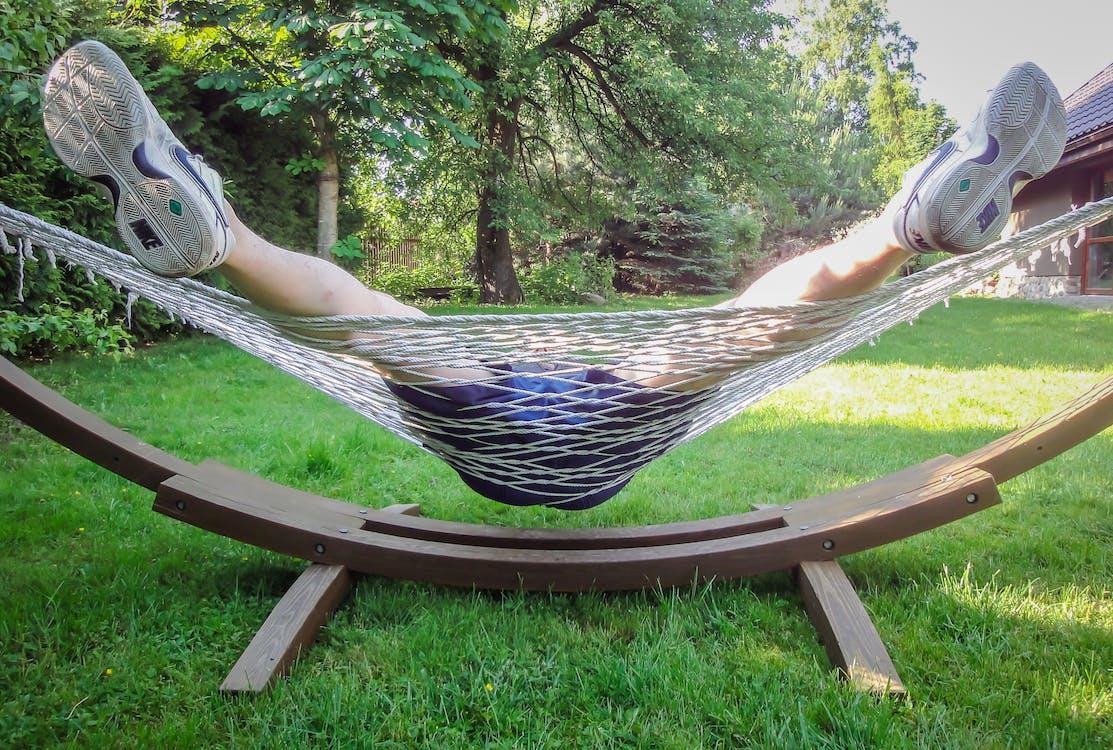 garden, hammock, legs