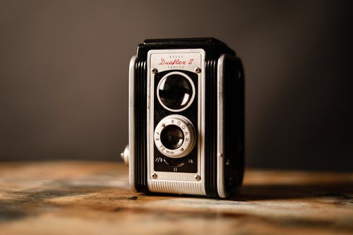 Gray and Black Vintage Camera