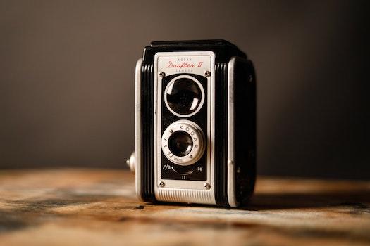 Gray and Black Vintage Camera