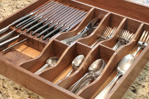 Free stock photo of drawer, forks, knives, organization
