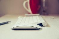 apple, desk, keyboard