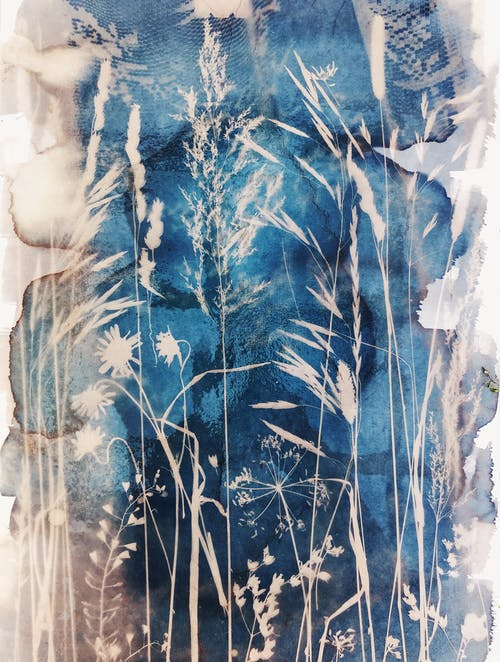Blue and Brown Leaf Print Textile