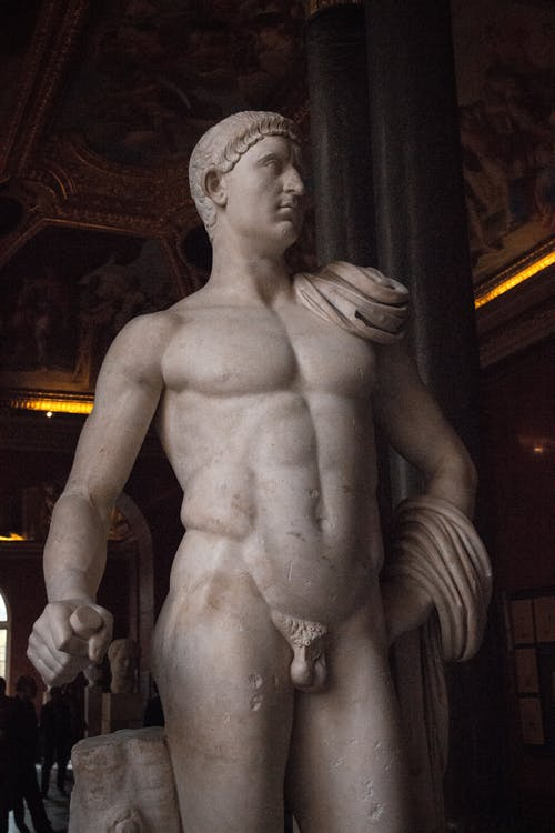 White Statue of a Naked Man