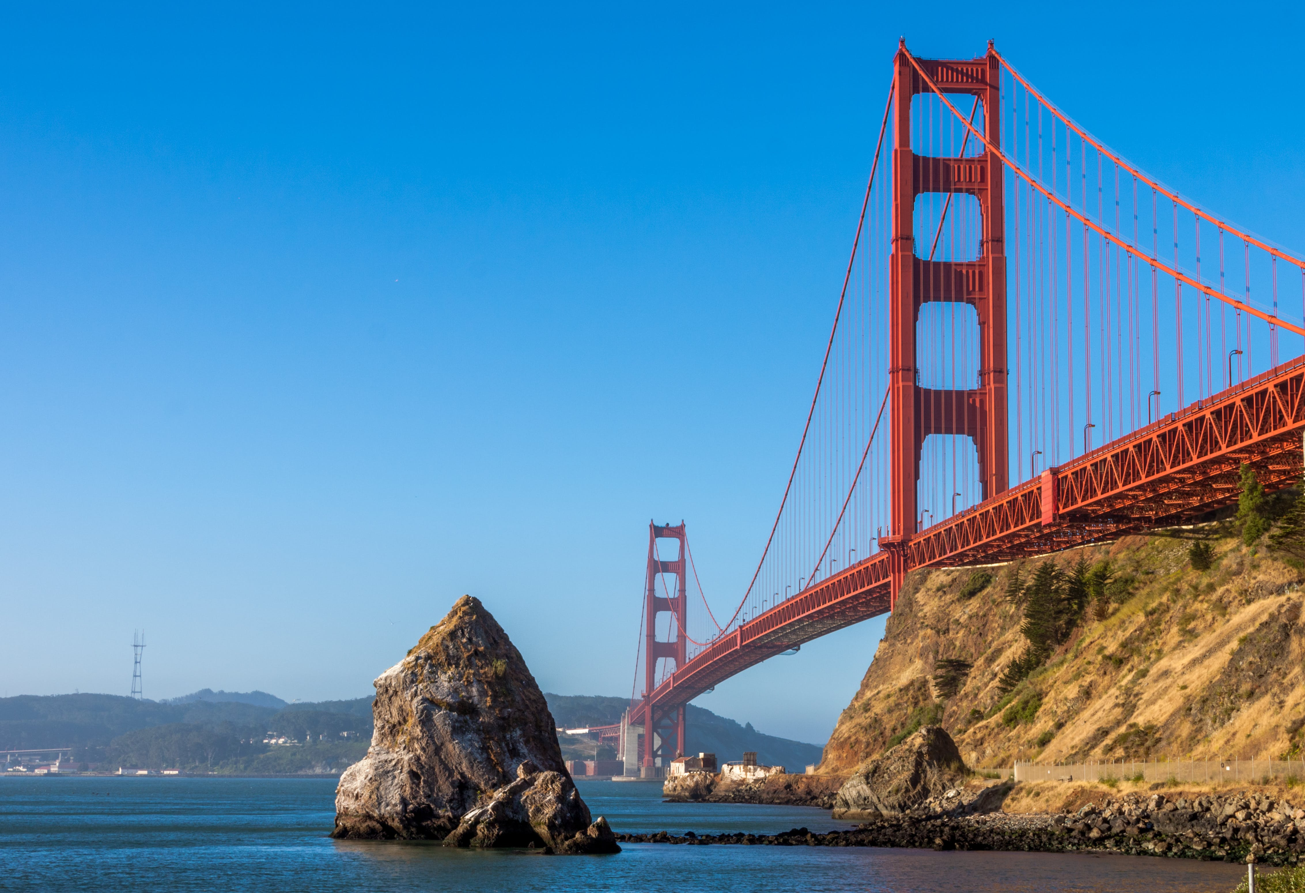 zu architektur, brücke, golden gate bridge, landschaft