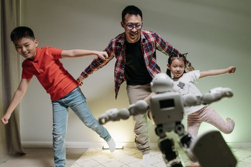 Free stock photo of adult, child, children with a robot