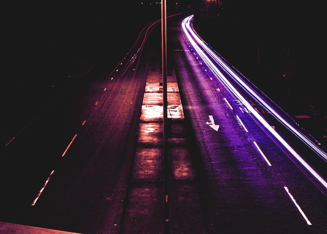 вечер, длинная экспозиция, дорога