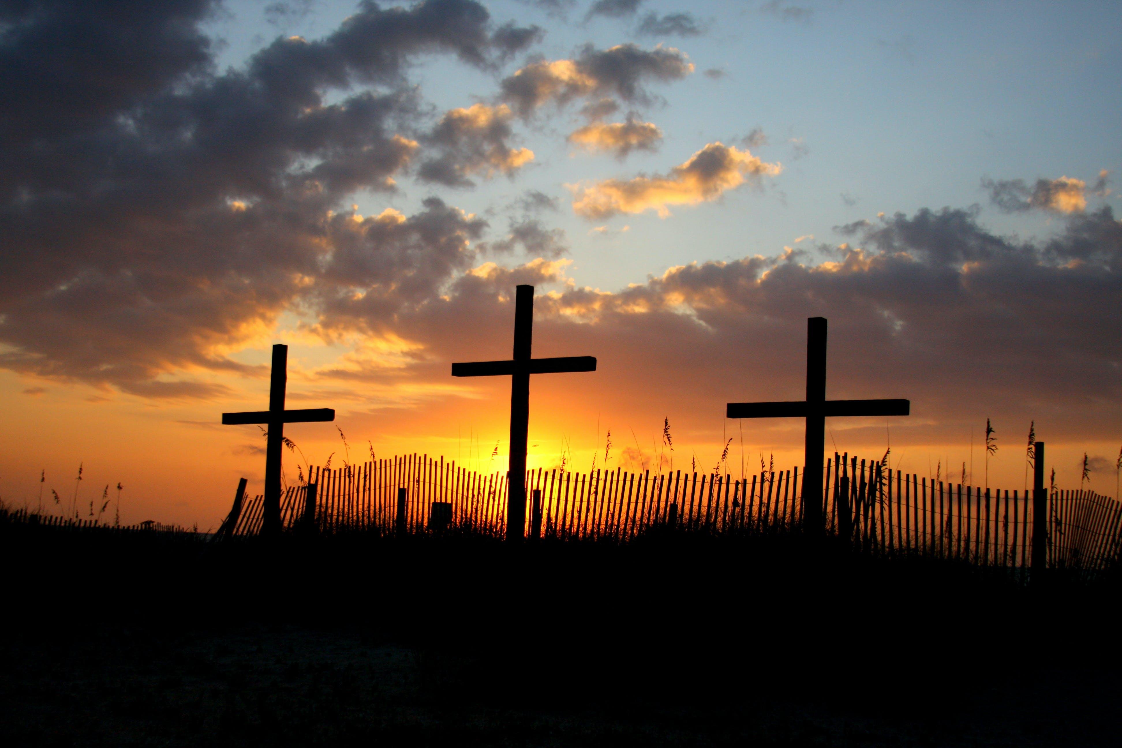 Free stock photo of crosses, easter, golden sun, morning sun