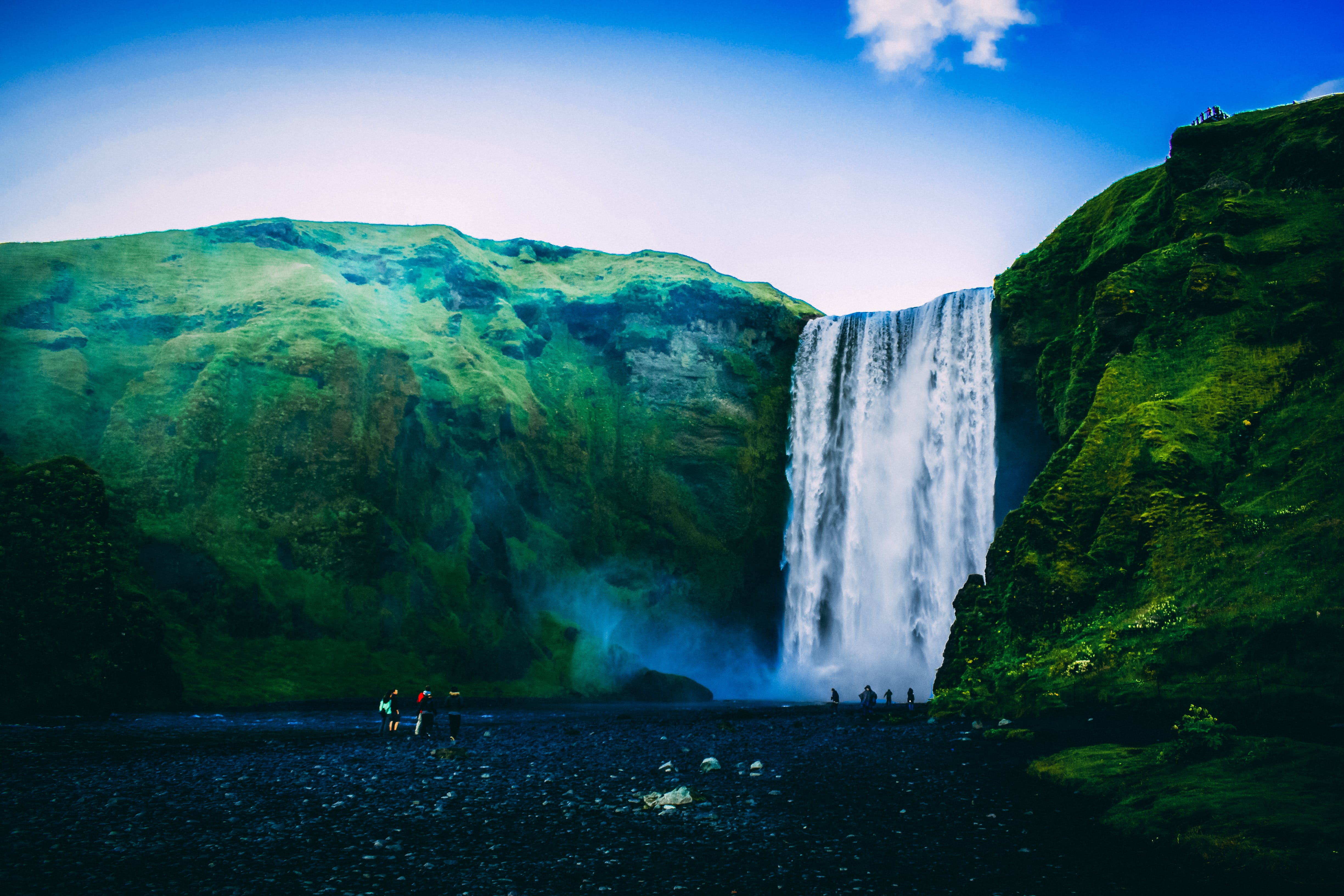 Free stock photo of iceland, landscape, grass, waterfall