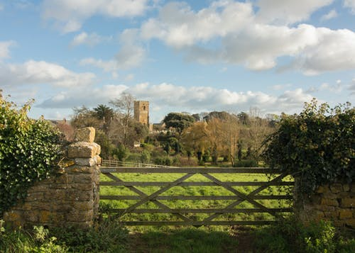 Free stock photo of church, field, gate