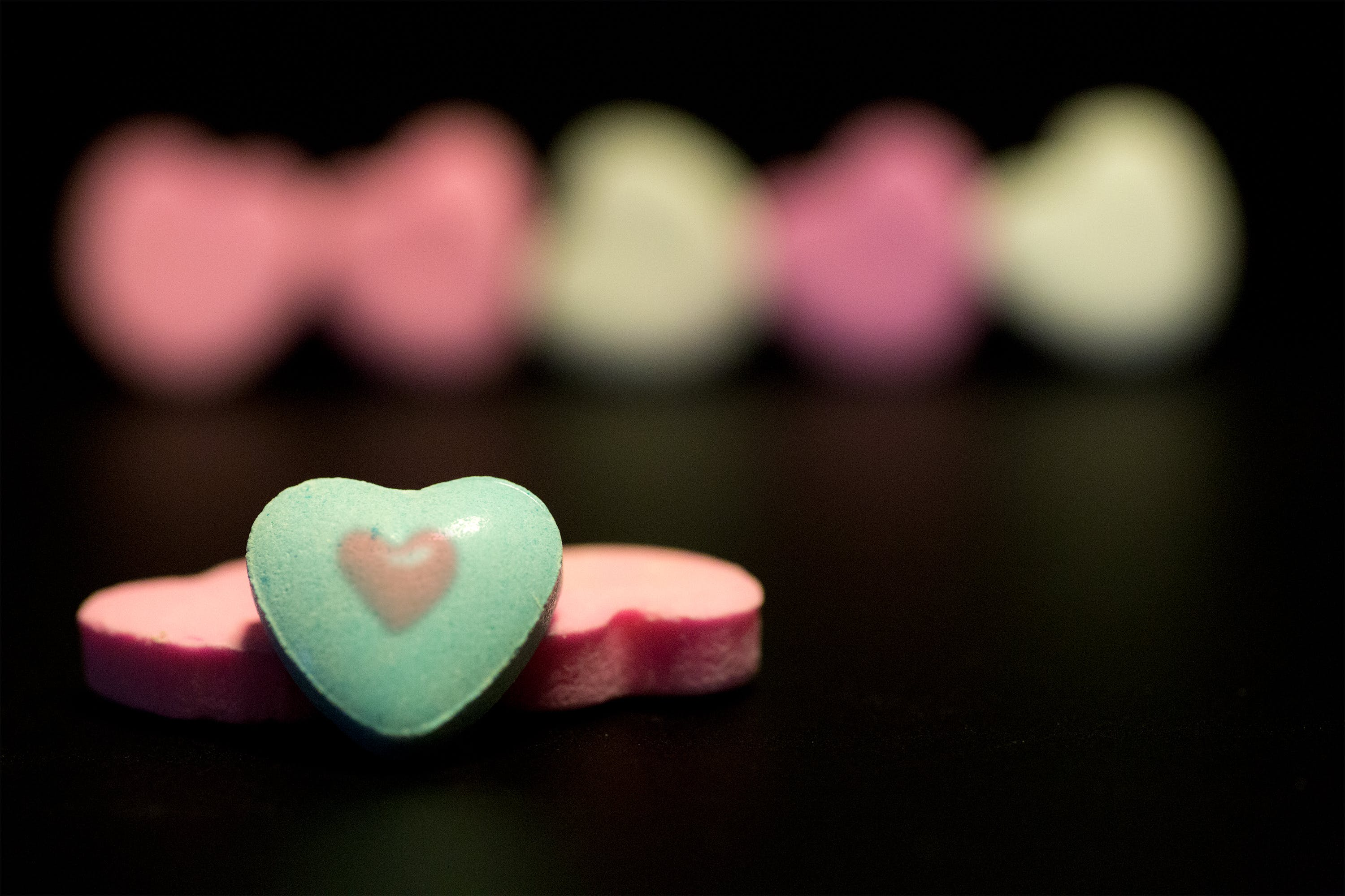 Free stock photo of candy, green, heart, pink