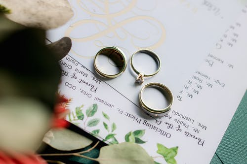 Wedding rings placed on papers on table